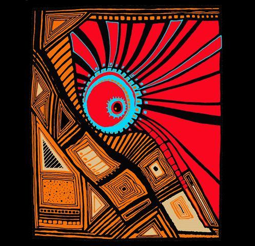 """Atardecer Urbano   43"""" x 41"""" Canvas Cada atardecer es una experiencia única. Hay unos aburridos y hay unos inolvidables. El atardecer urbano es una abstracción """"encendida"""" de mis colores preferidos."""