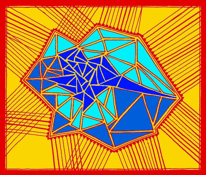"""La Rosa, Octubre 2014  42"""" x 36"""" Canvas Dibujo abstracto de una Rosa...Interpretación geométrica de una Rosa."""