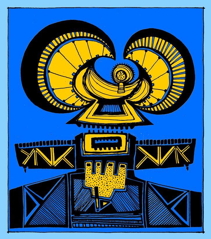 """El Acoplamiento""""Spaceship Docking""""  42"""" x 37"""" Canvas Siempre me han gustado las naves espaciales y todo lo que representa el espacio en su vasta dimensión. El acoplamiento para mí también tiene significados de relación, como nos relacionamos con el """"otro""""."""