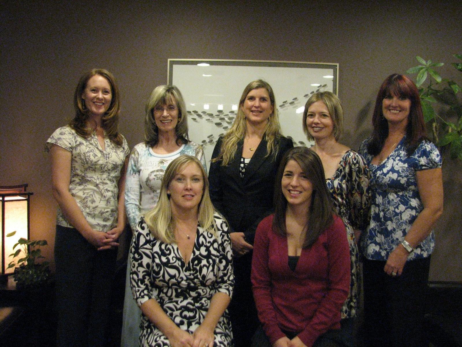 Audrey(massage), Jan(nutrition), Dana(Chinese medicine), Sherri(Chinese medicine), Marion(Polarity), Lisa(office manager/reception), Ashley(reception)