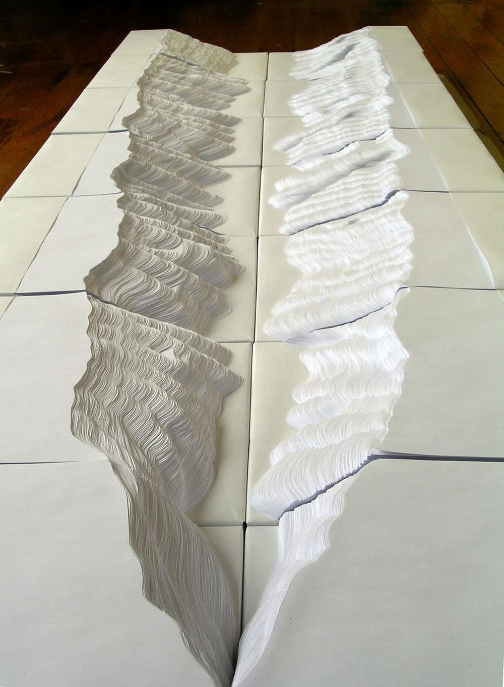 "Topograph , 2006, handcut office paper, 60""x22""x6"""