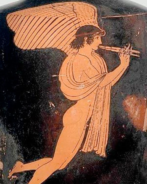 Ancient Greece.   Eros the winged god of love with a flute.  470-460 BC