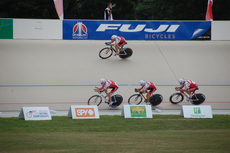 The 2012 Young Medalists Team Pursuit Squad on their way to a Bronze medal at Junior National Track Championships