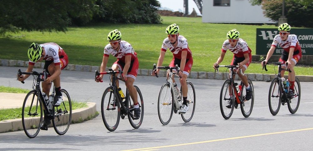 Nate leads the pace line with Joe, Austin, William and Stephen at the 2017 Emrick Boulevard junior race.