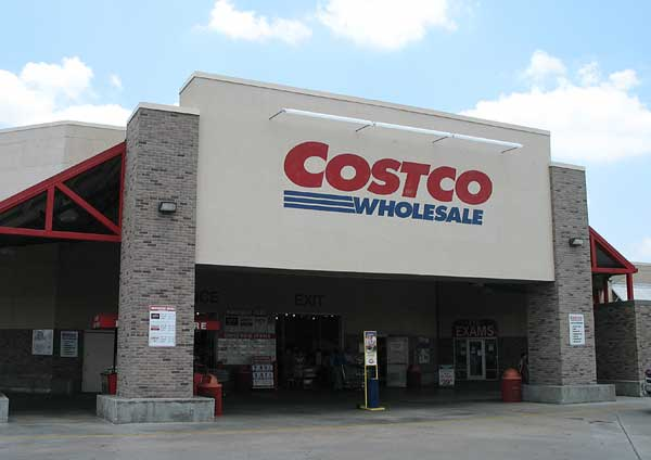 Imagine 200 people outside this building, pushing carts the size of small Caribbean islands, stuffed with 75 pounds of pretzels. That's Costco on a Saturday.