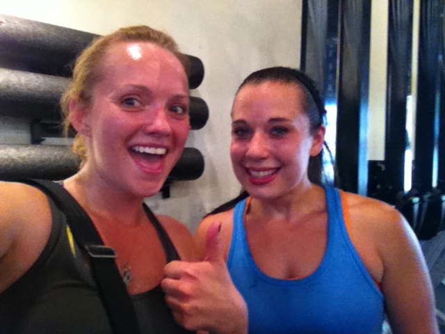 Me and my CrossFIt pal, Jill... We don't sweat. We sparkle.