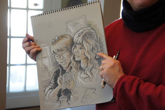 Ken's sketch of Lisa-Marie & me. Artistic license accepted!