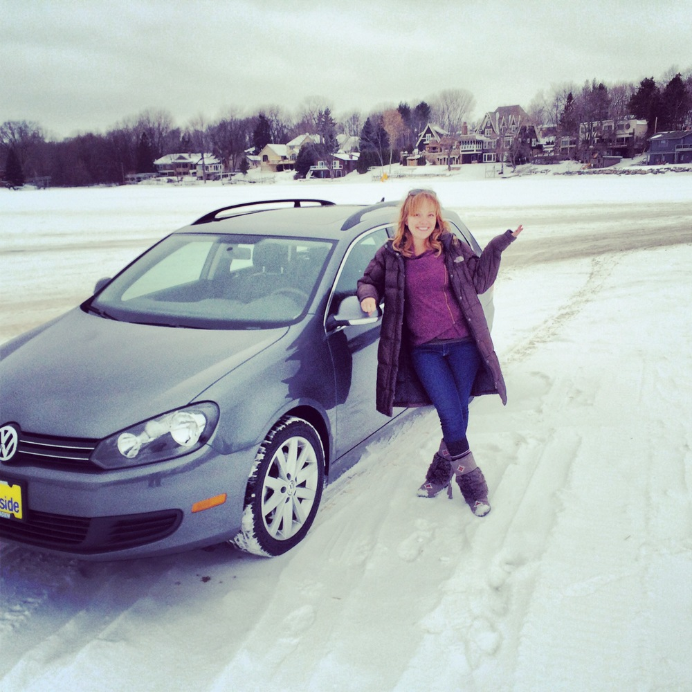 Driving my brand new car on a frozen lake = land of 10,000 Hey Eleanor bonus points!