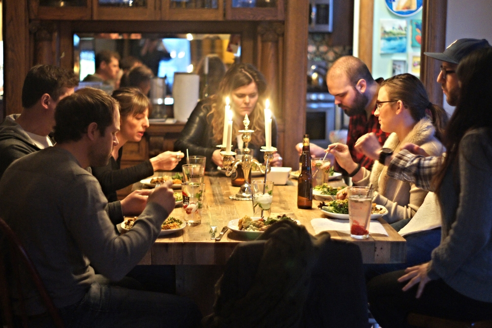 Sign of a good dinner party: everyone is too busy eating to talk.