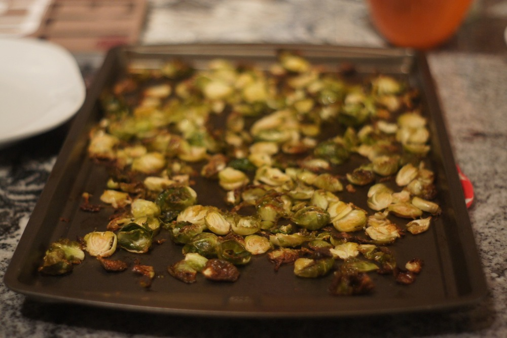 """Another highlight: I made Brussels sprouts """"chips."""" Like kale chips, but with Brussles sprouts, obviously. Cover with olive oil, s & p & red pepper flakes, into the oven for 20-ish minutes at 400. Finish with lemon juice. Serve."""