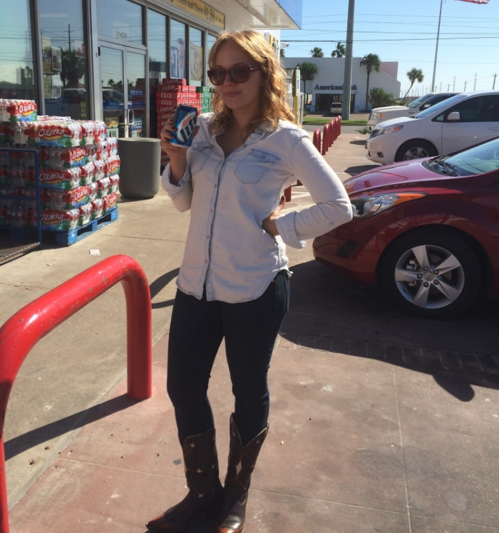 When in Texas..... #48 = illegally drinking a beer in a gas station parking lot.