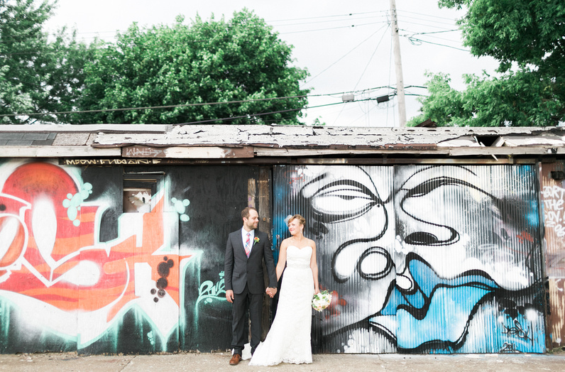 Just hanging on in a NE Minneapolis parking lot in fancy clothes | Uppercut Boxing Gym Wedding - MPLS