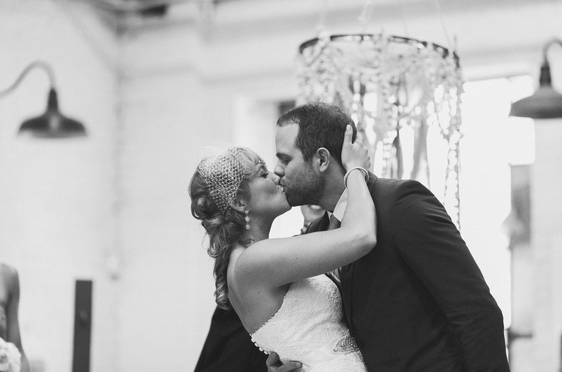 The kiss. |Uppercut Boxing Gym Wedding - MPLS