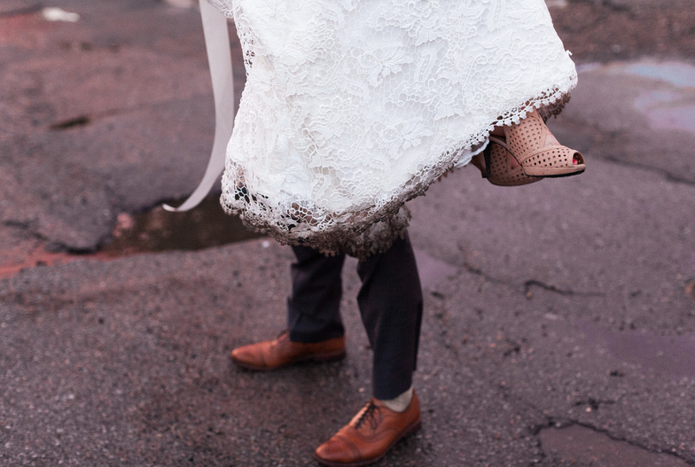 Realest moments of my wedding: dirty dress. | Uppercut Boxing Gym Wedding - MPLS