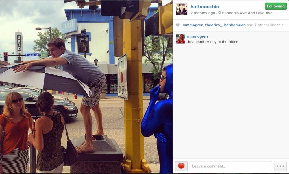 Video extras in Minneapolis, ft Matt Houchin & some guy in a blue spandex bodysuit.