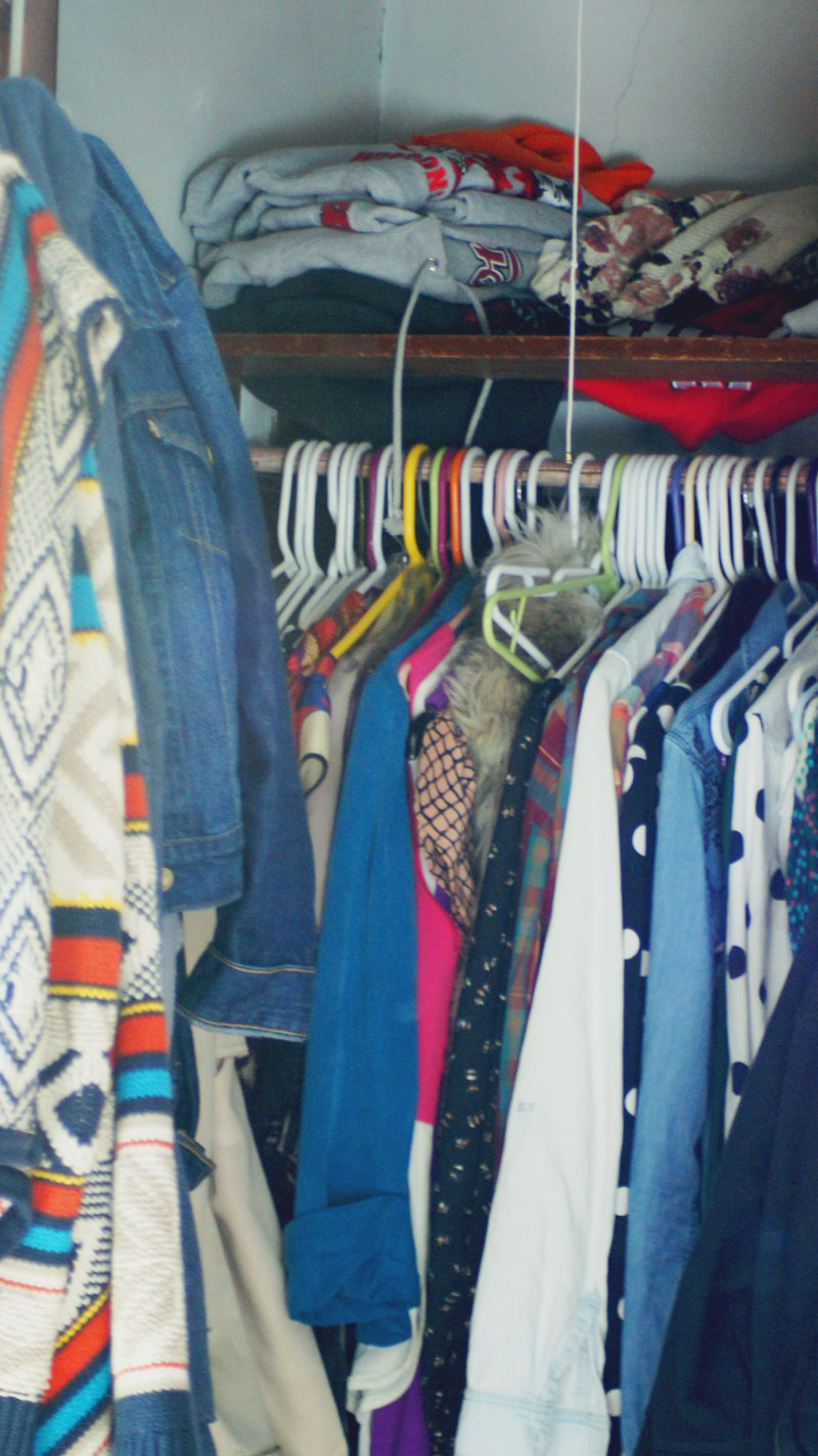 BEFORE: My jam packed closet, pre-purge.