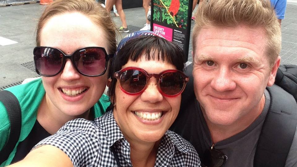 Meeting my Aussie pals, Kim and Ben, in NYC