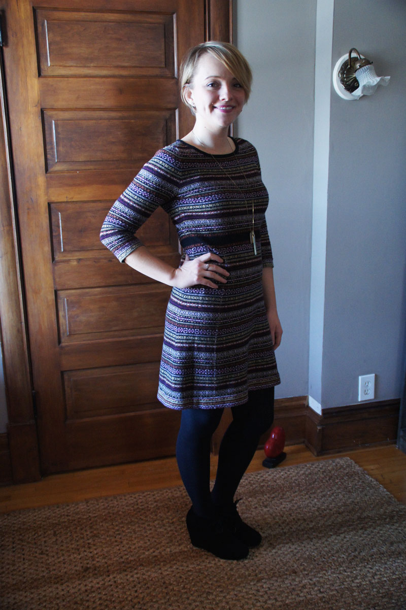 Sweater dresses = easy and put together feeling.