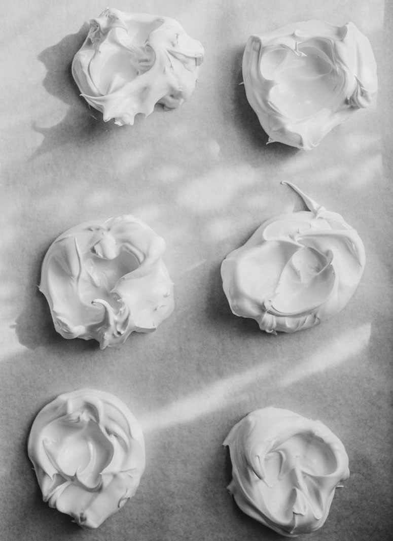 Perfectly imperfect nests of meringue.