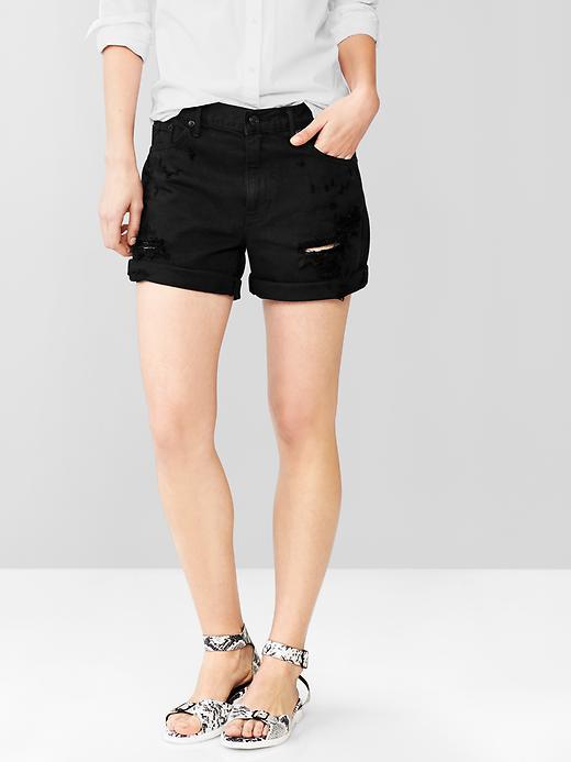 Distressed black jorts | gap.com