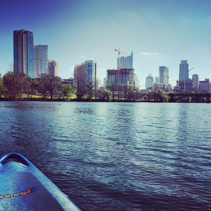 Kayaking on the Colorado in Austin.