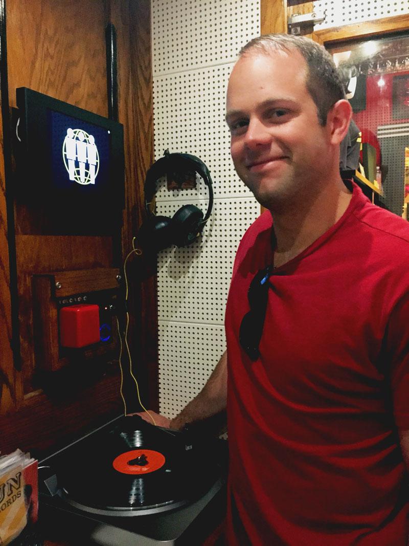Josh, listening to tunes at Third Man Records.