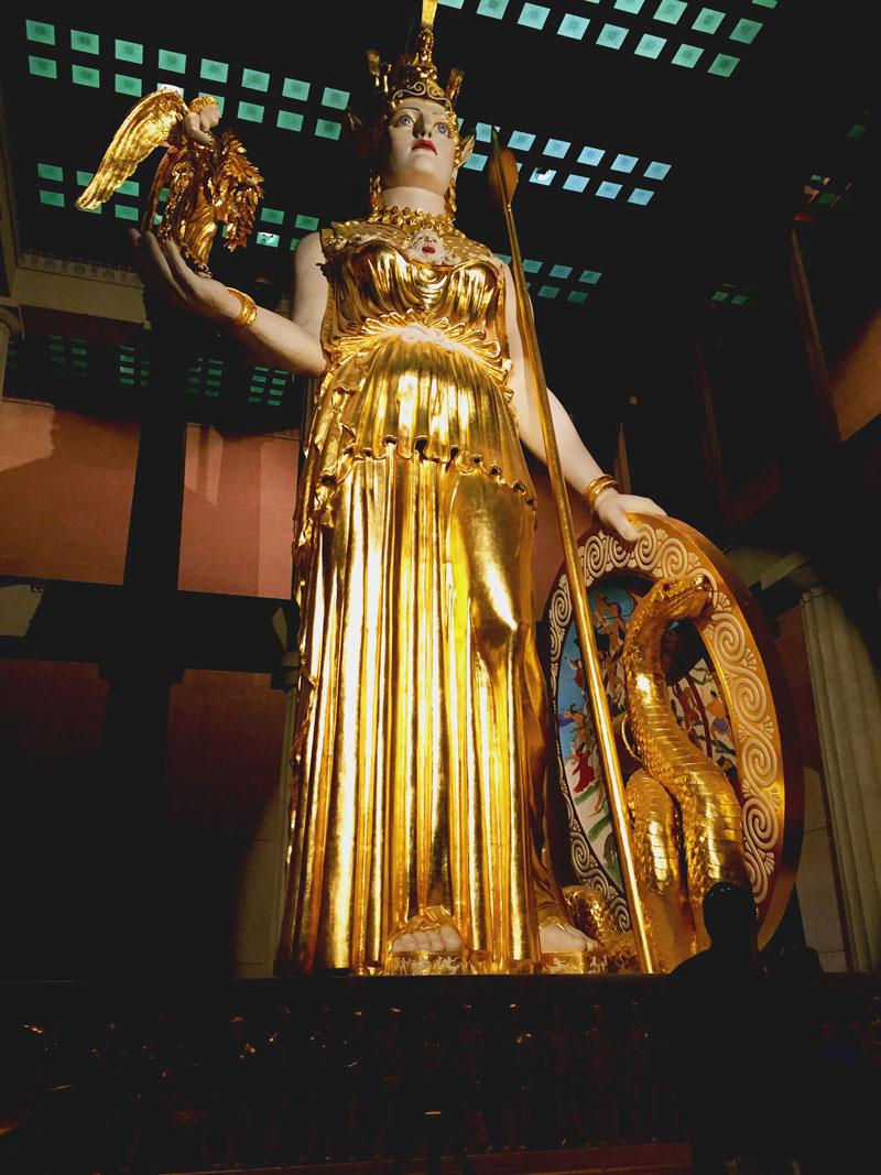 Giant gold statue, blah blah blah.