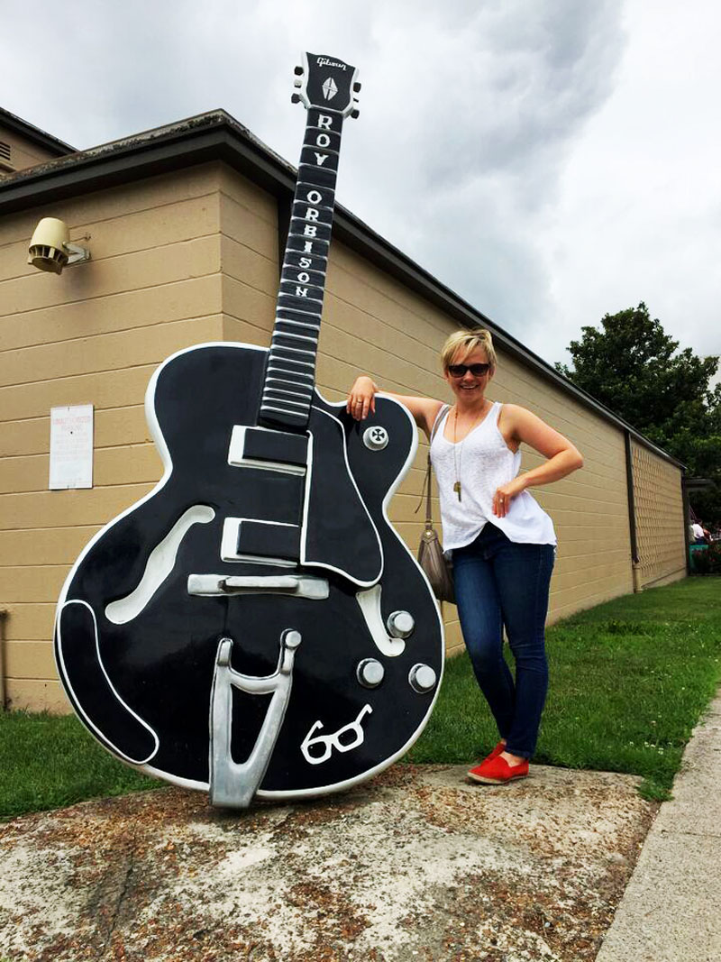 Me & Roy Orbison's actual guitar. He was a lot taller than you'd think.