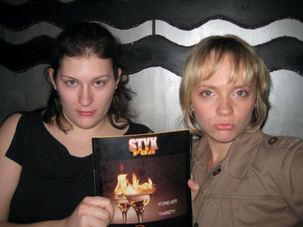 2008: Diana & I at STYX Pub-- a metal bar in Bangalore. Cuz STYX are so metal.