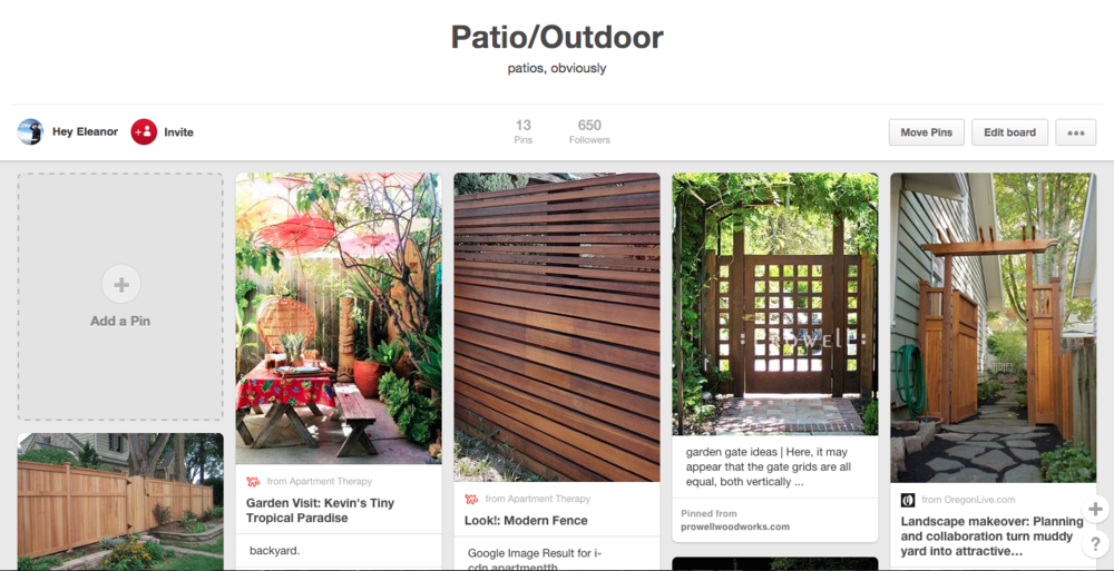 My Pinterest patio board. PS are we friends on Pinterest yet?