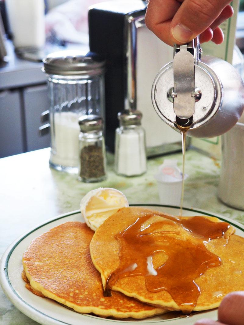 Pancakes at Quaker Diner.