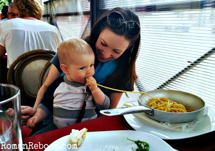 Spaghetti... the universal language of babies.