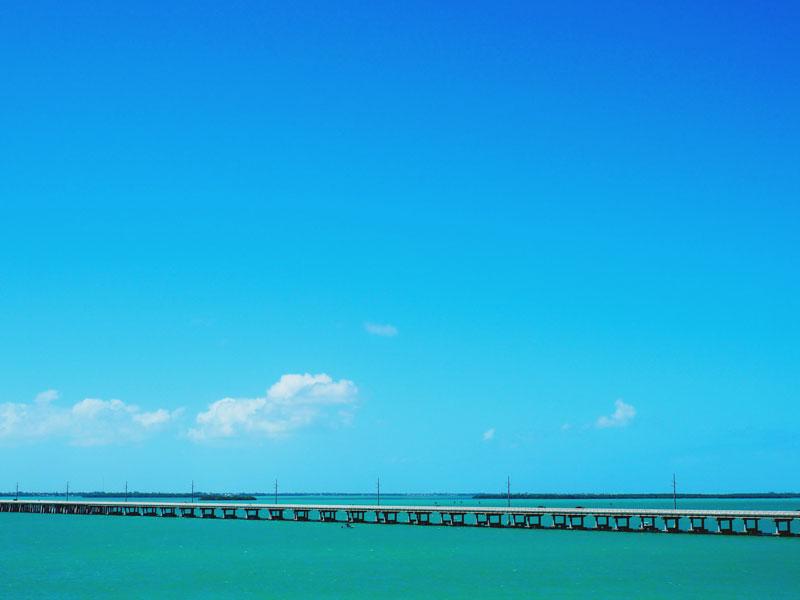 An old train bridge in the Florida Keys.