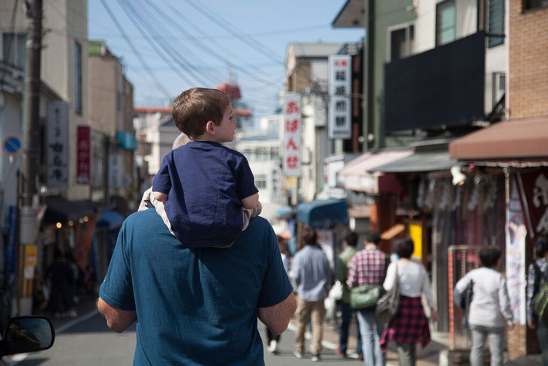 Fact: Shoulders are more fun that strollers. | How to Travel Internationally with Kids