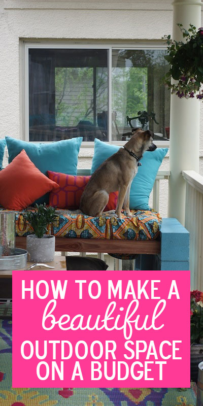 How I built a budget-friendly outdoor space (complete with cinder block bench) without any tools.