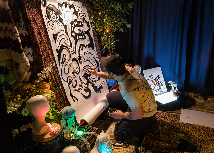 Live illustration performance during First Night Akron 2017 / Tim Fitzwater Photography