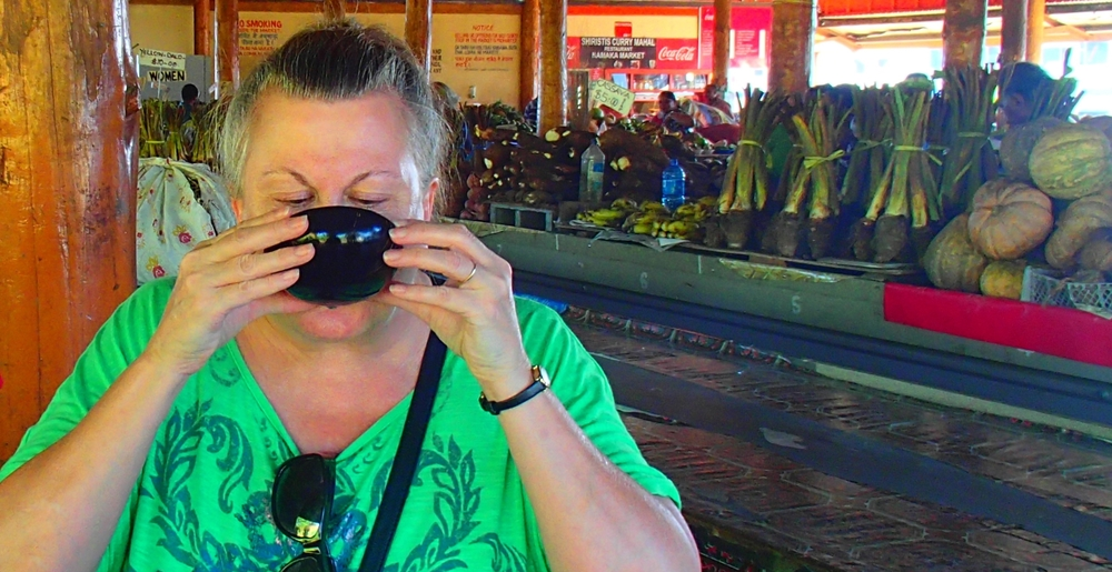 I enjoyed my first taste of kava in the Namaka Market in Nadi, Fiji. (Photo credit: Cherri Megasko)