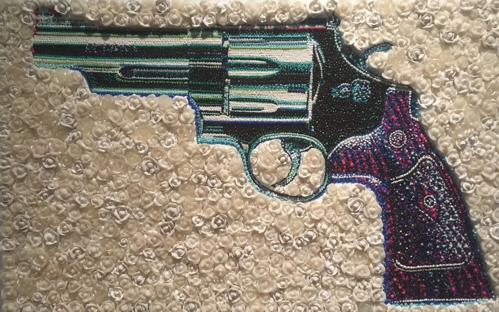 Lisa Alonzo (American)   The Gun in Roses 44 , 2014 Acrylic and molding past piped on panel