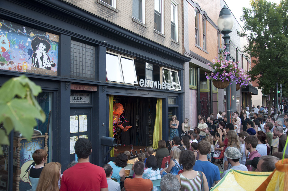 A spring perfromance on Elsewhere's storefront stage