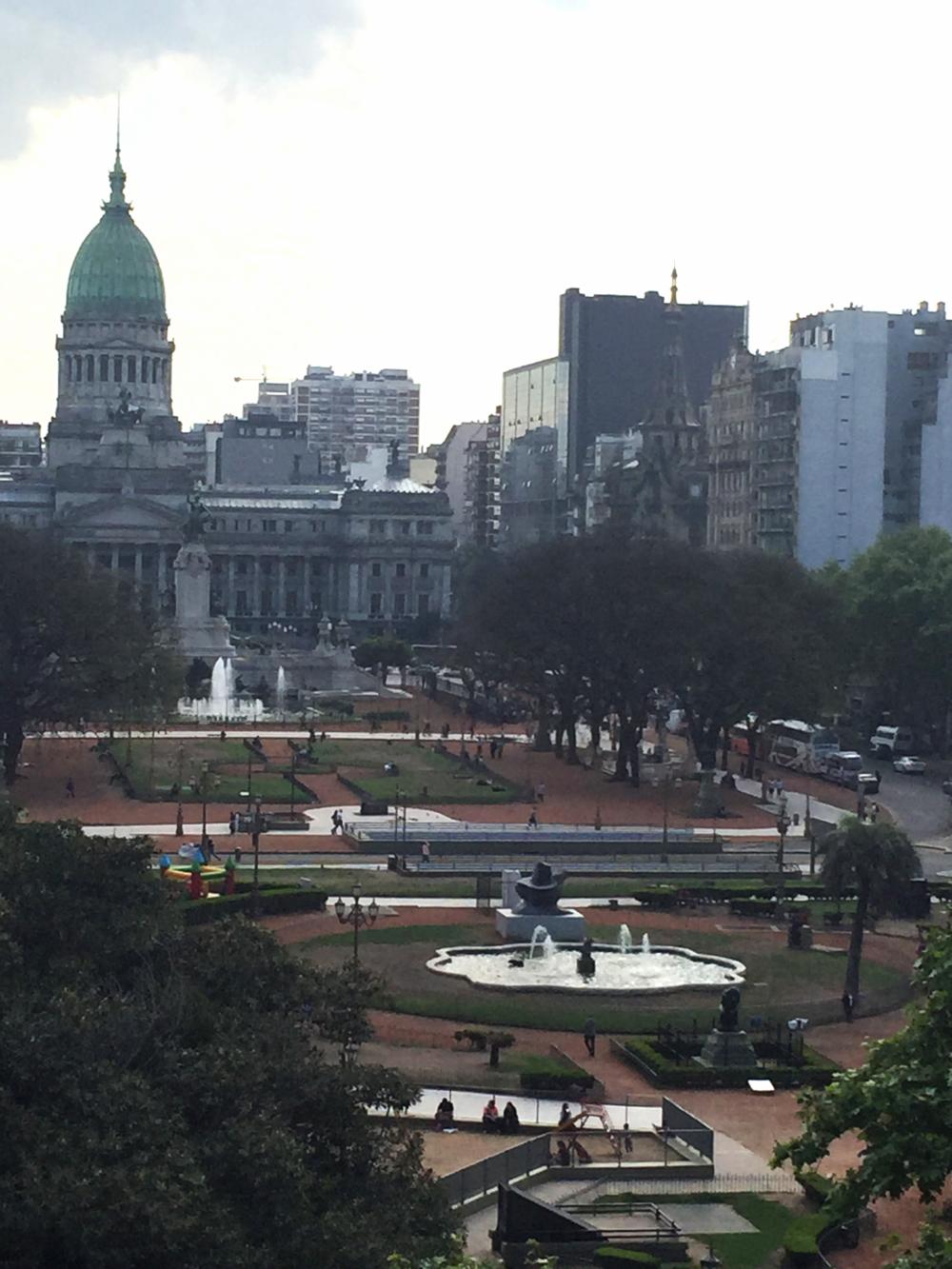 A view across Congreso Plaza from the balcony of Ignacio Liprandi Contemporary Art Gallery