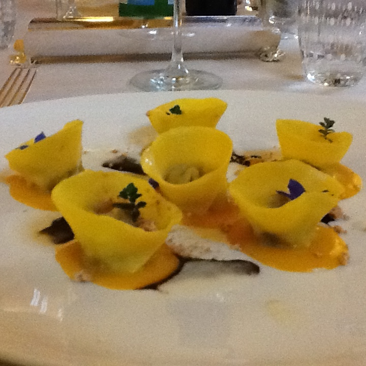 The agnolotti stuffed with pork.
