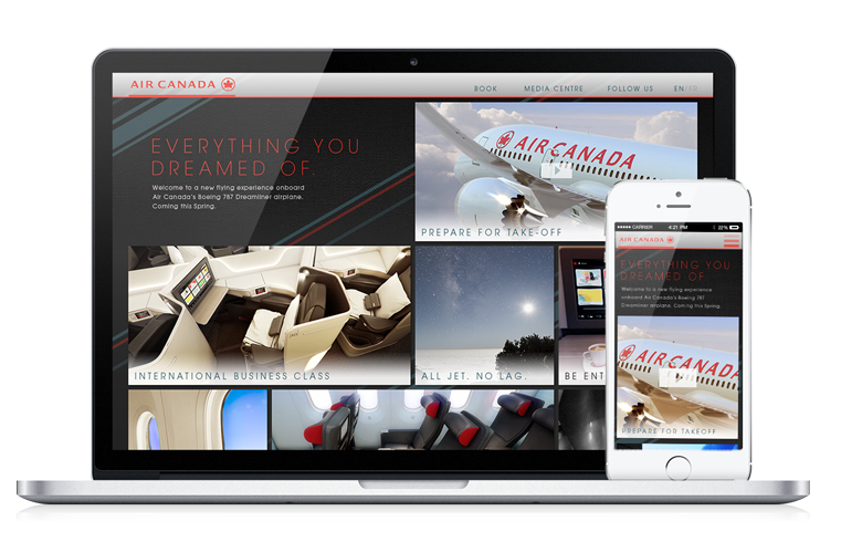Fully responsive site designed for any aspect ratio. 787.aircanada.com