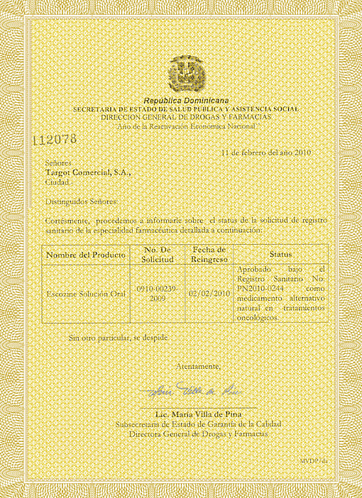 Escozine™ Certificate of Registration From Dominican RepublicMinistry of Health