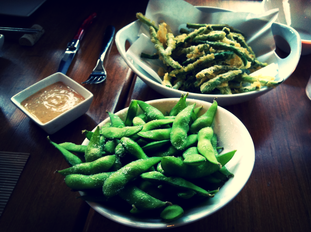 Edamame $6 Healthy Fries - Tempura Green Beans with Sesame Dipping Sauce (onthe left) $9