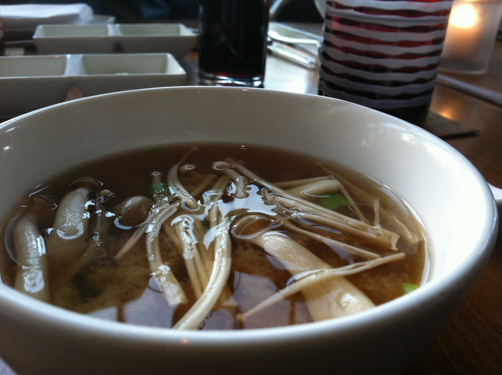 Country Miso Soup - Red and White Hon-Shimeji, Enoki Mushrooms, Wakame, Tofu  $7