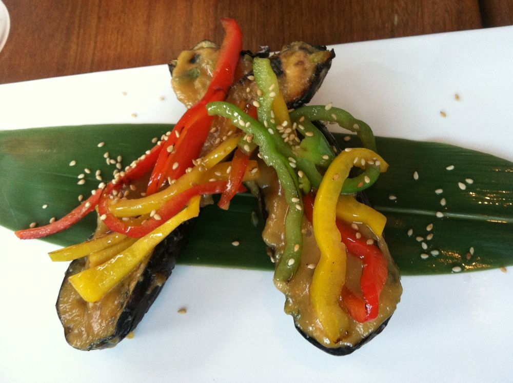 Grilled Japanese Eggplant - Roasted Bell Peppers & Honey Miso Glaze  $9