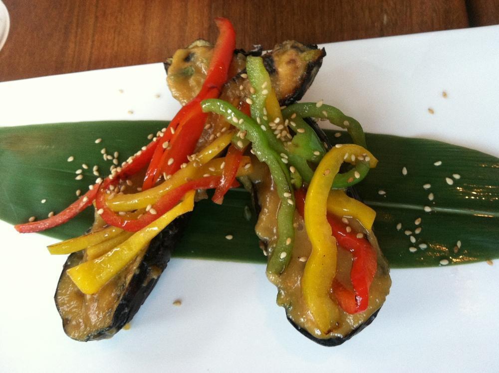 Grilled Japanese Eggplant - RoastedBell Peppers & Honey Miso Glaze $9