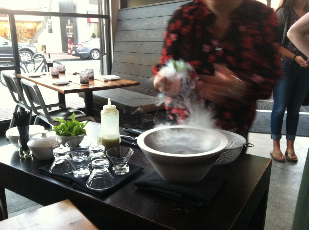 Freshly dipped stem of mints that went into the liquid nitrogen. Steamy.