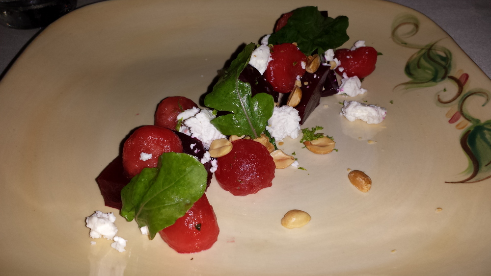 Beet and Watermelon Salad - french feta, roasted peanuts, citrus.  $12