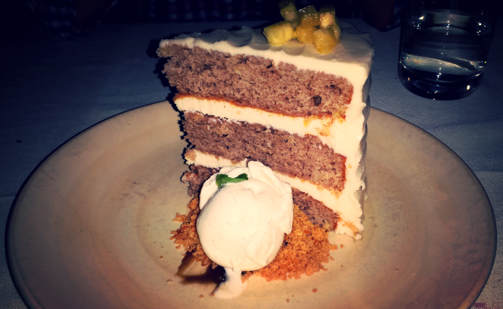 Art's Hummingbird Cake - banana toffee, pineapple, coconut-grains of paradise crumble.  $12